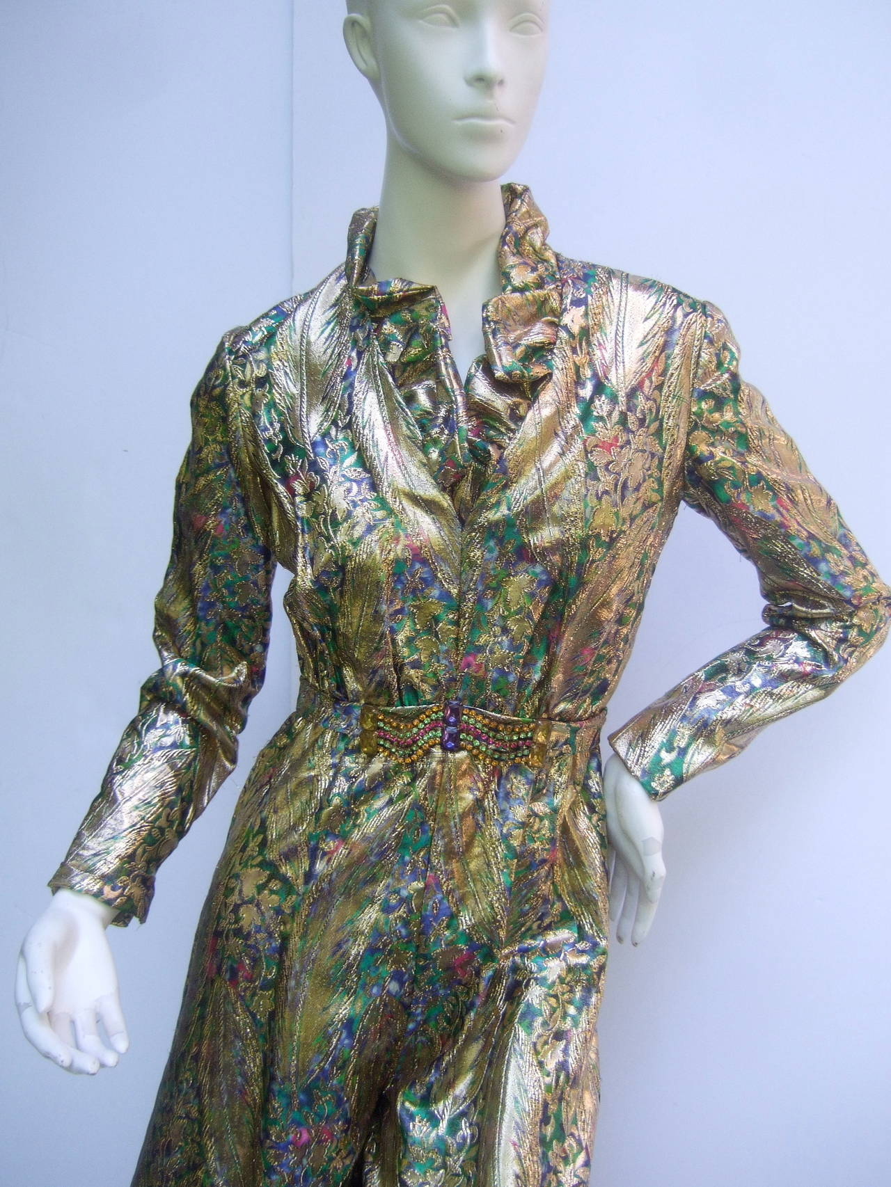 1970s Gold Lame Peacock Feather Jeweled Jumpsuit c 1970 For Sale 3