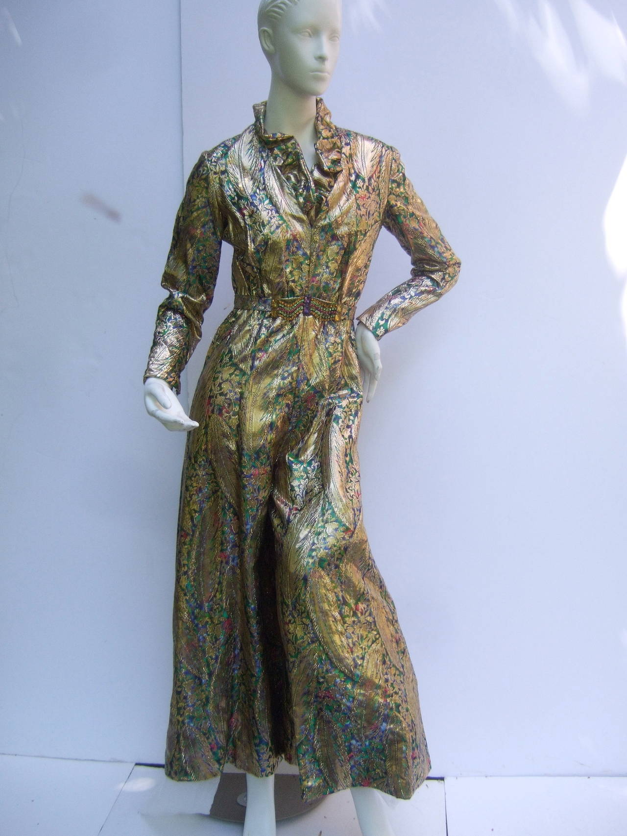 1970s Gold Lame Peacock Feather Jeweled Jumpsuit C 1970