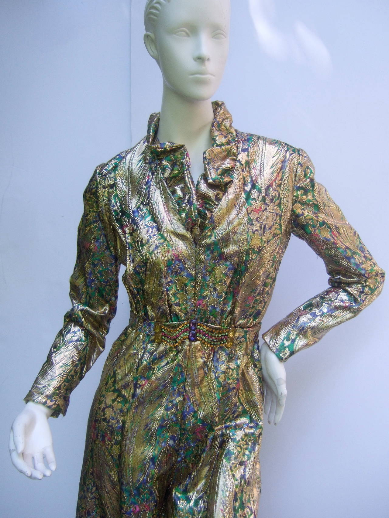 Gray 1970s Gold Lame Peacock Feather Jeweled Jumpsuit c 1970 For Sale