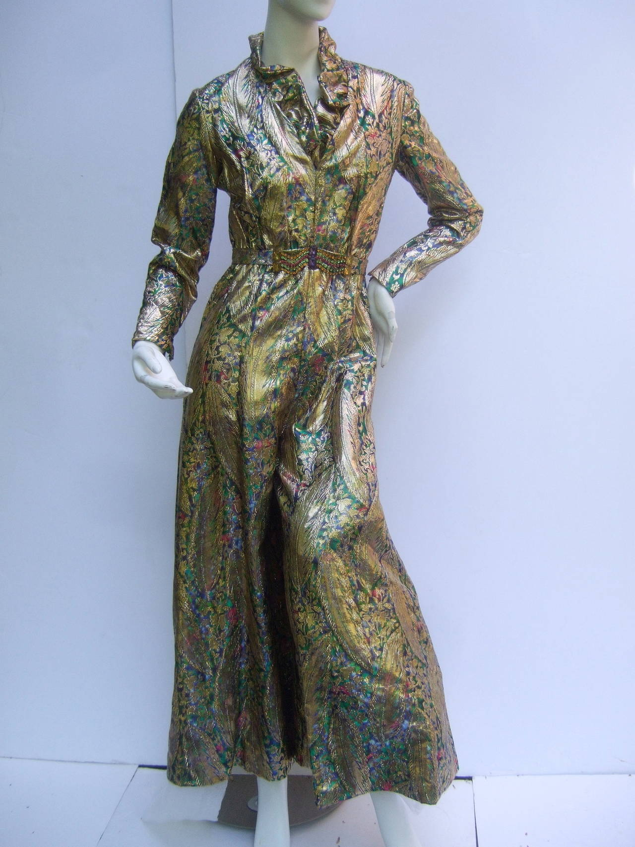 1970s Gold Lame Peacock Feather Jeweled Jumpsuit c 1970 For Sale 2