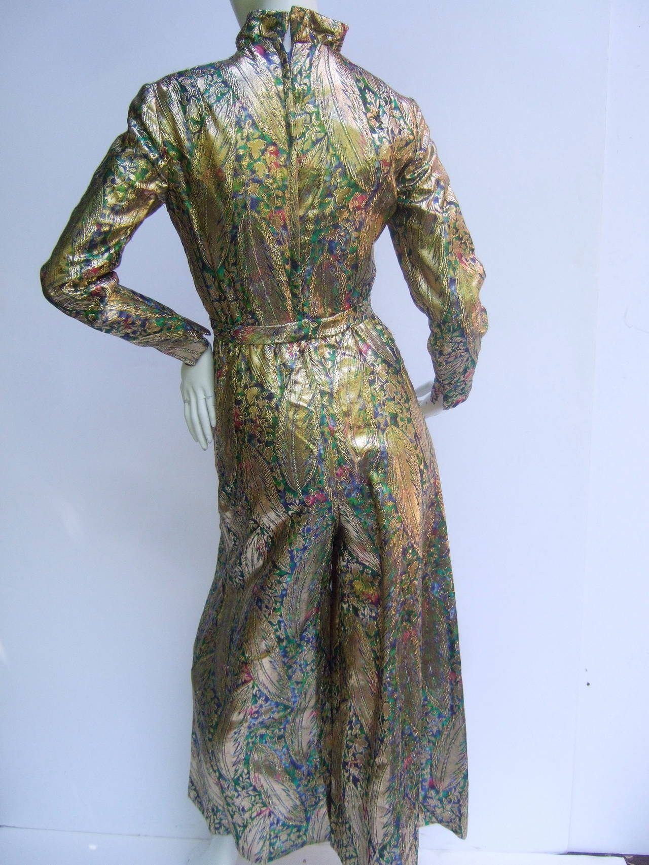 1970s Gold Lame Peacock Feather Jeweled Jumpsuit c 1970 For Sale 1