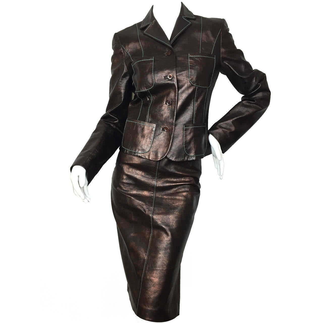 Late 90's Christian Lacroix Brown Butter Soft Leather Suit.