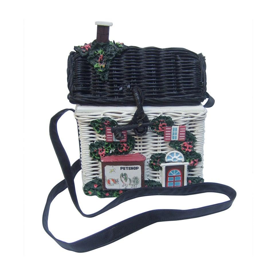 Timmy Woods Beverly Hills Whimsical Wicker House Handbag 1