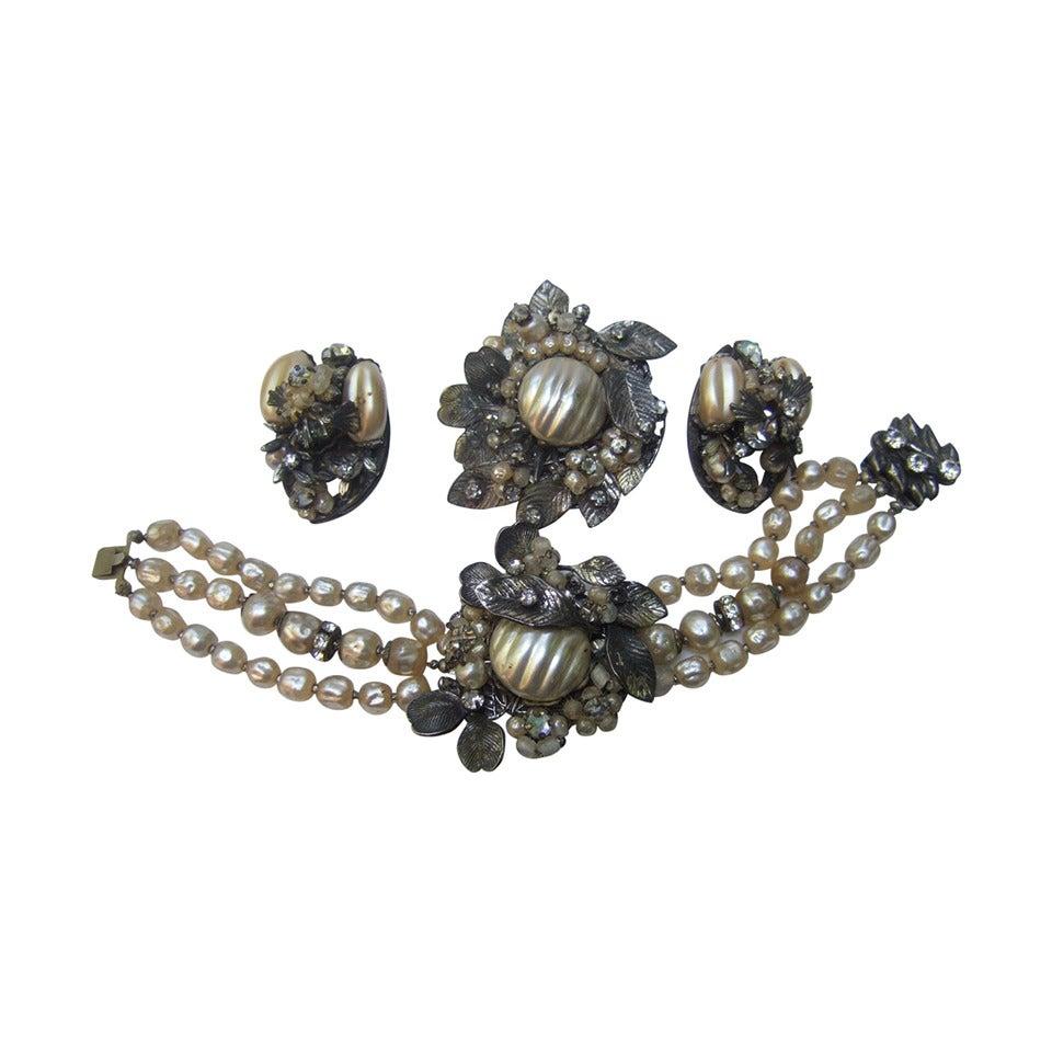 1950s Costume Pearl Brooch, Bracelet & Earrings by Robert For Sale