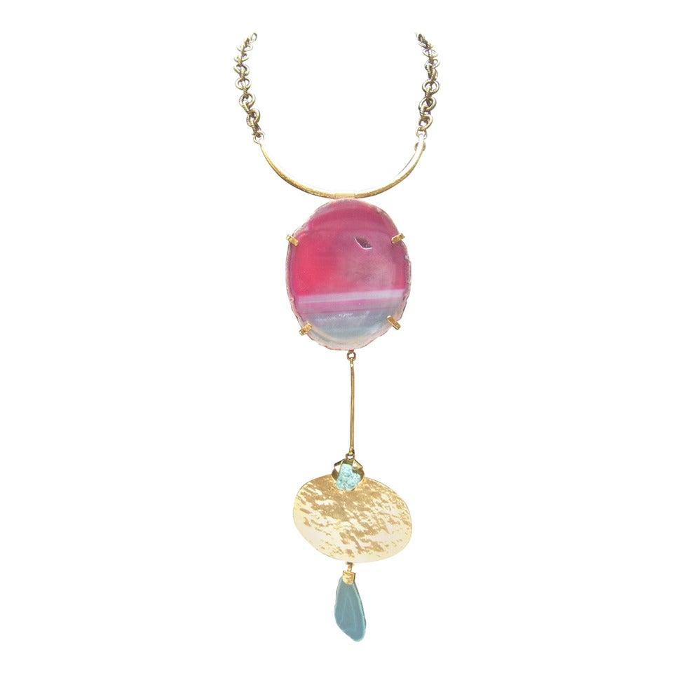 Philippe Ferrandis Paris Magnificent Agate Pendant Necklace For Sale