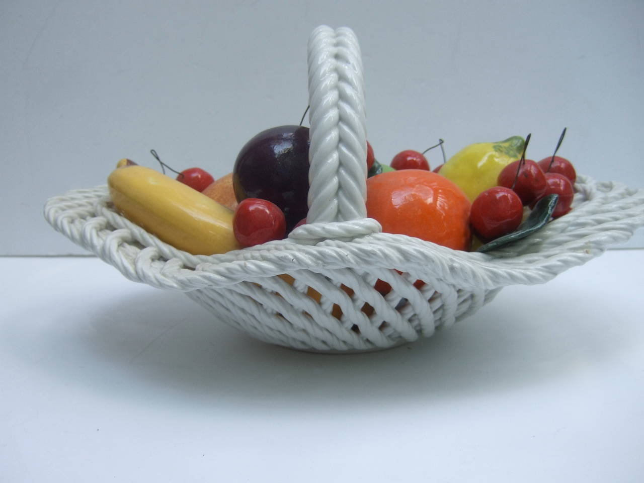 Porcelain Fruit Basket Designed by Capodimonte Made in Italy at 1stdibs