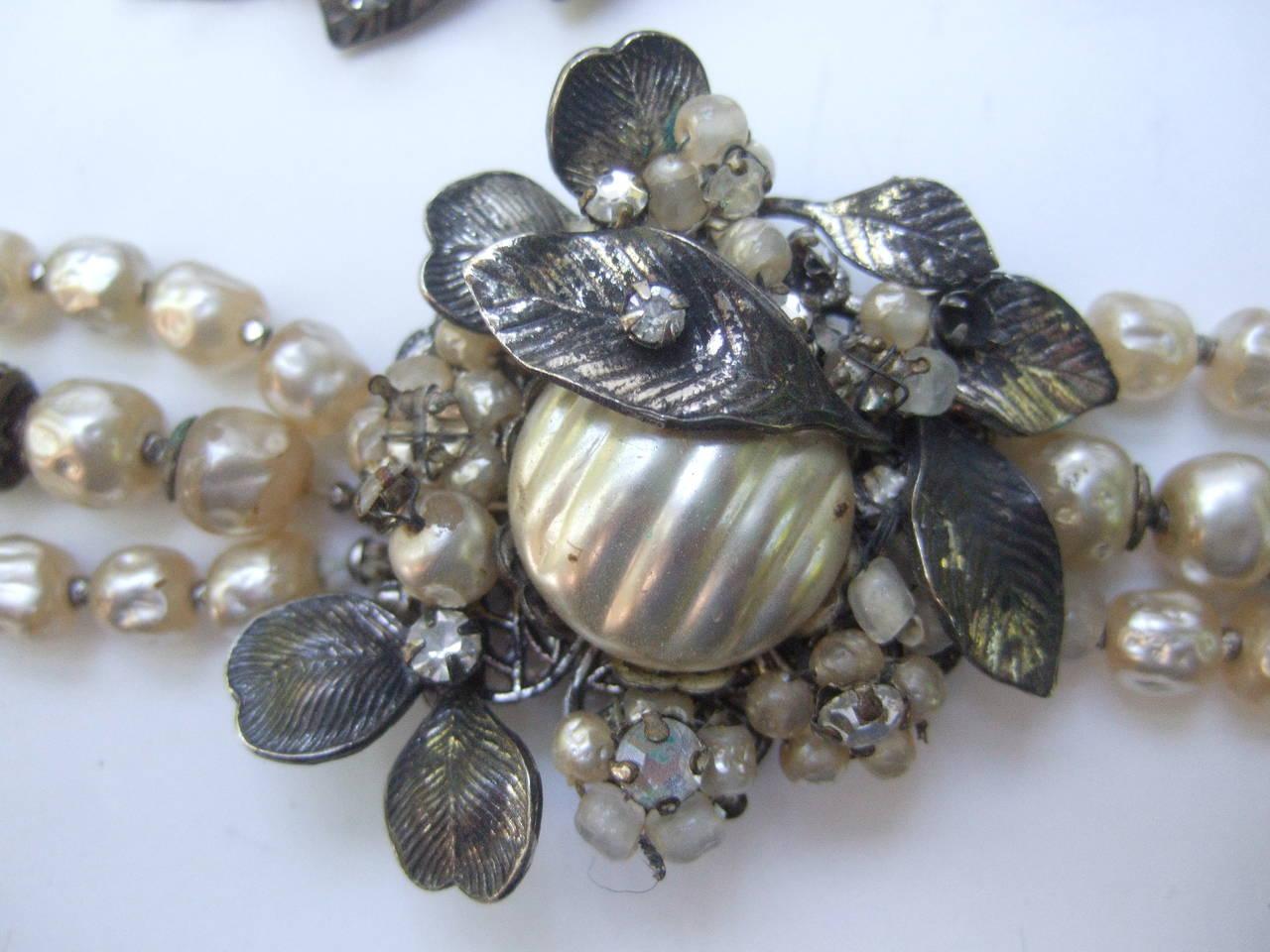 1950s Costume Pearl Brooch, Bracelet & Earrings by Robert For Sale 1