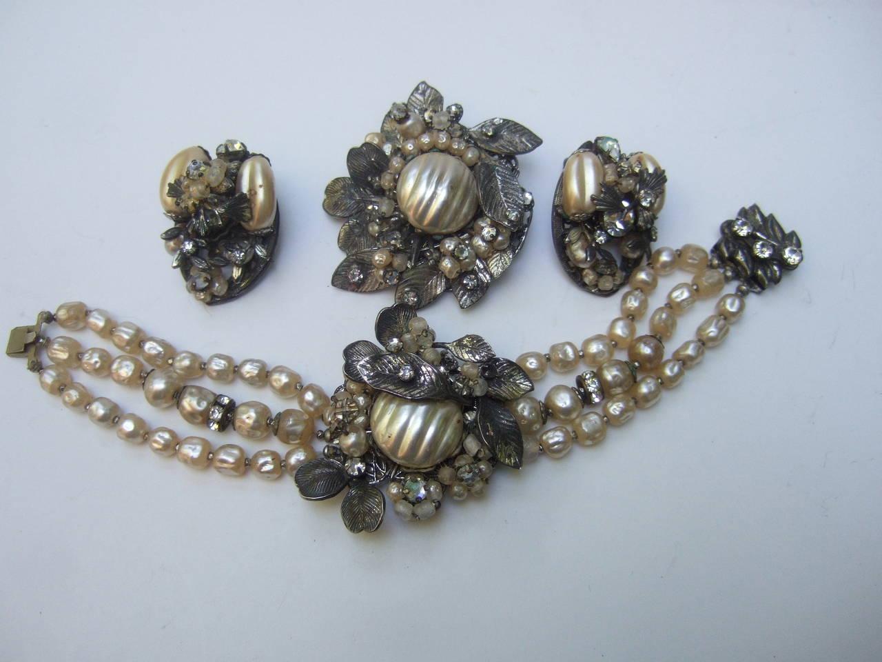 1950s Costume Pearl Brooch, Bracelet & Earrings by Robert For Sale 3