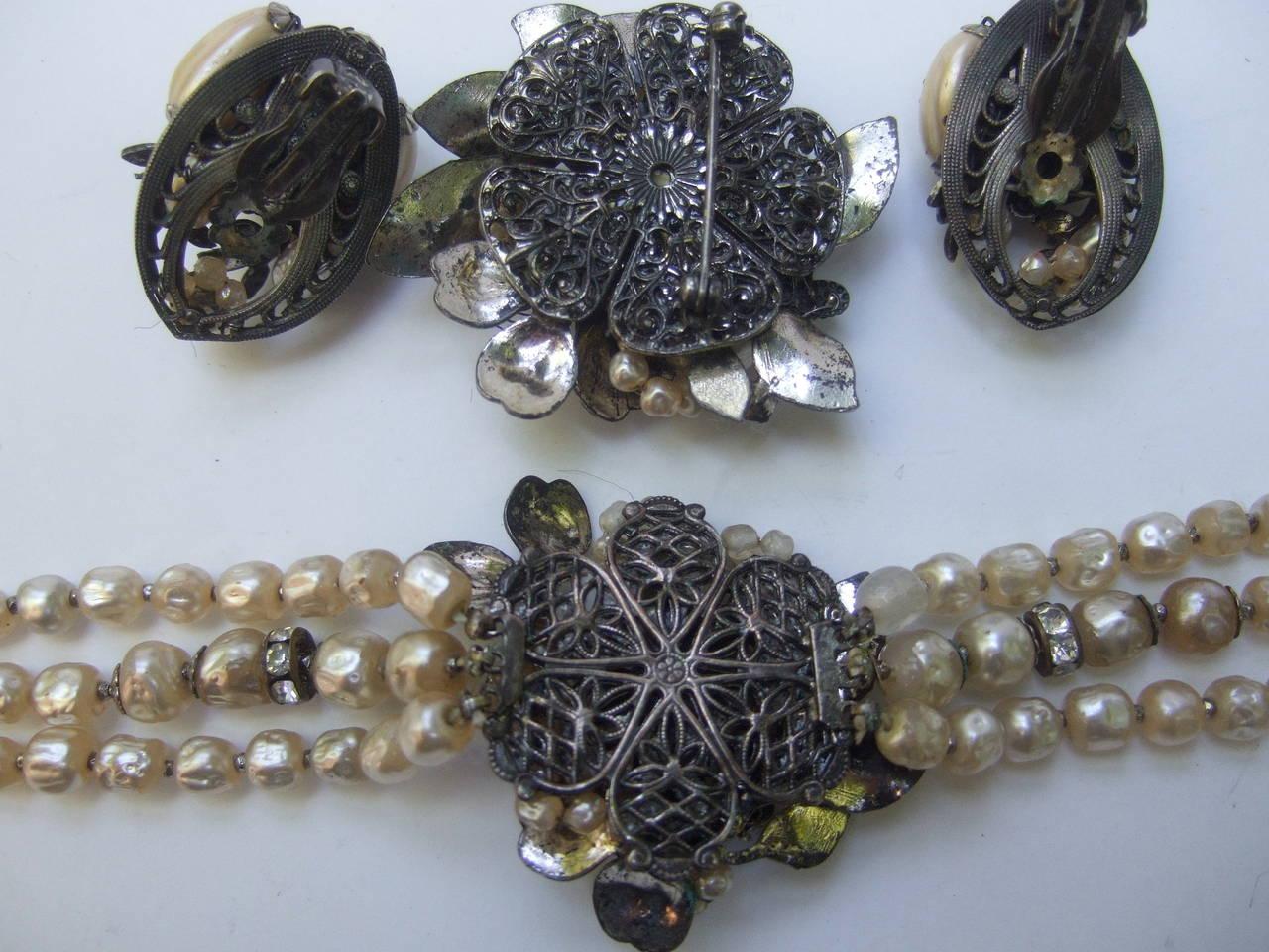1950s Costume Pearl Brooch, Bracelet & Earrings by Robert For Sale 4