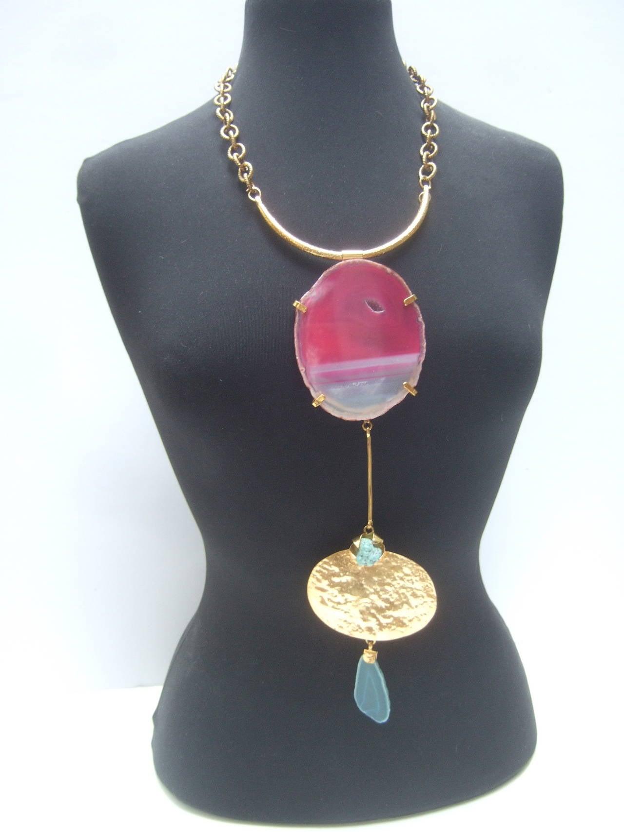 Philippe Ferrandis Paris Magnificent Agate Pendant Necklace For Sale 3