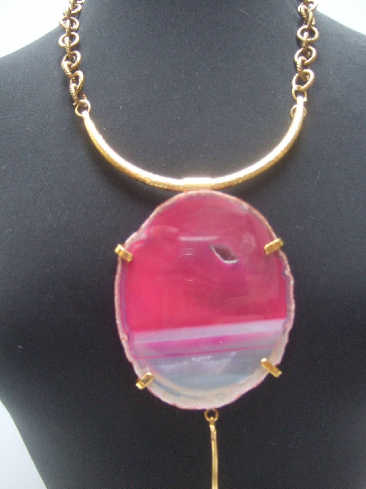 Philippe Ferrandis Paris Magnificent Agate Pendant Necklace For Sale 2
