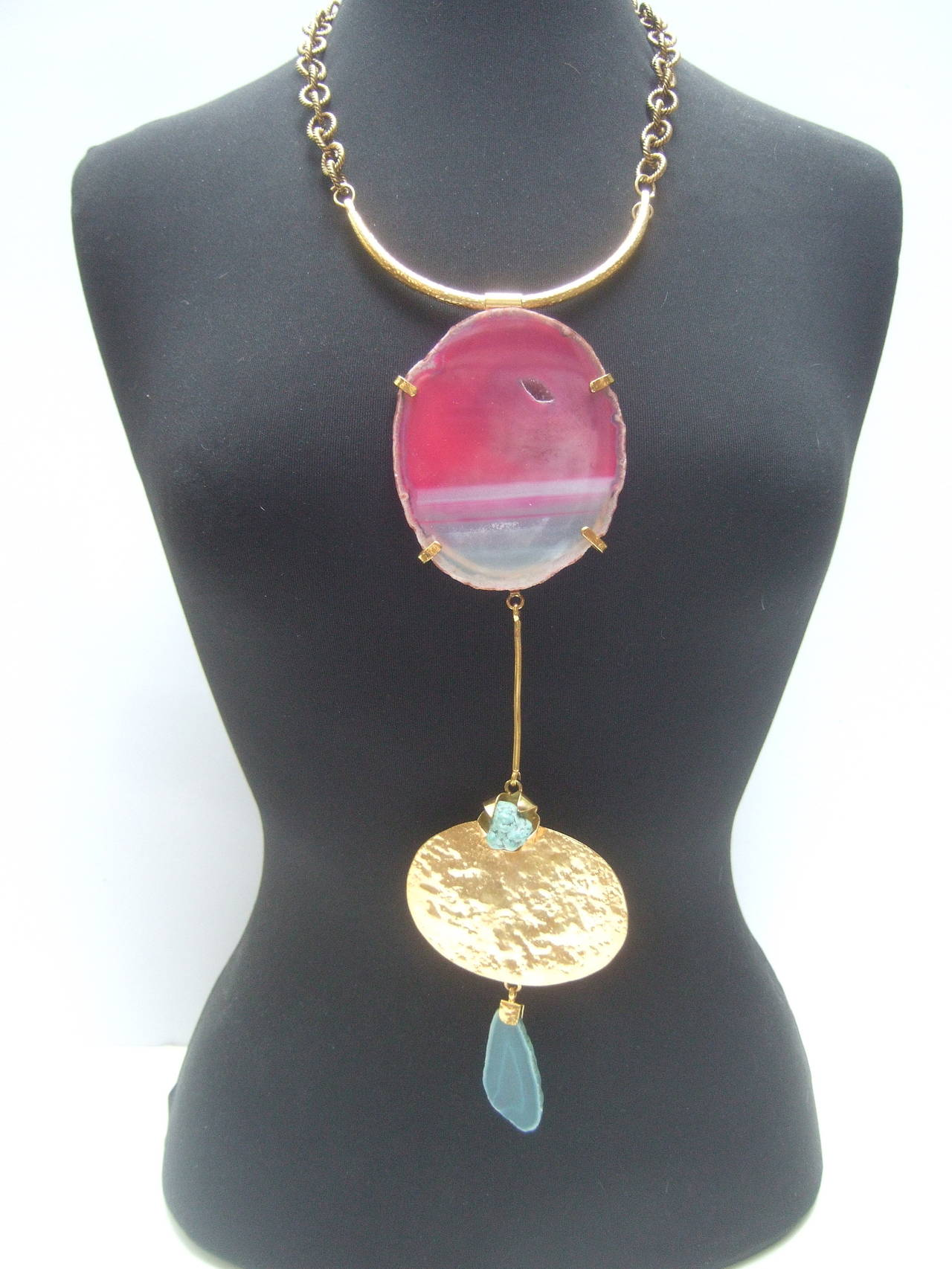 Phillipe Ferrandis Paris Magnificent agate pendant necklace c 1990