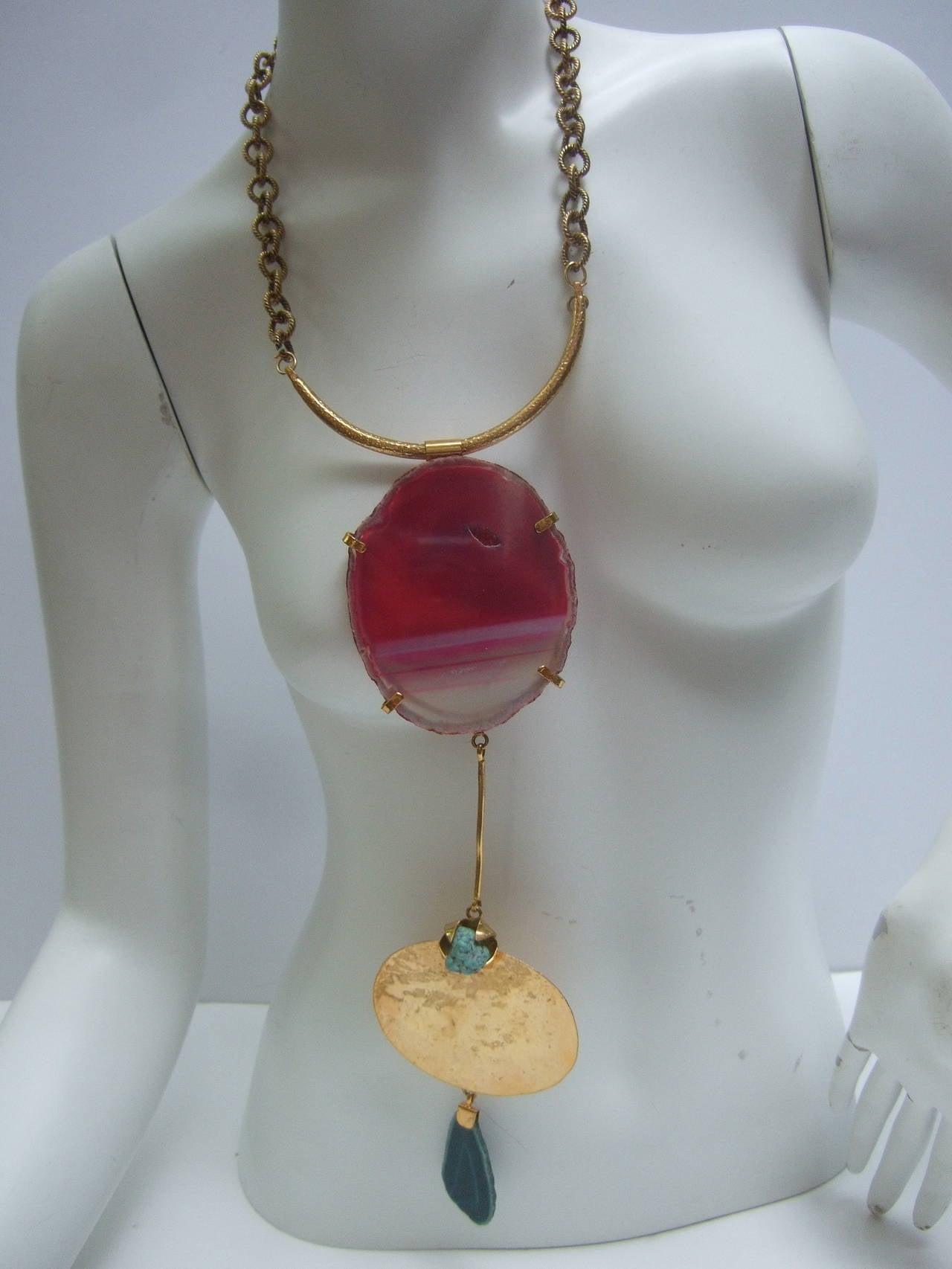 Philippe Ferrandis Paris Magnificent Agate Pendant Necklace For Sale 6