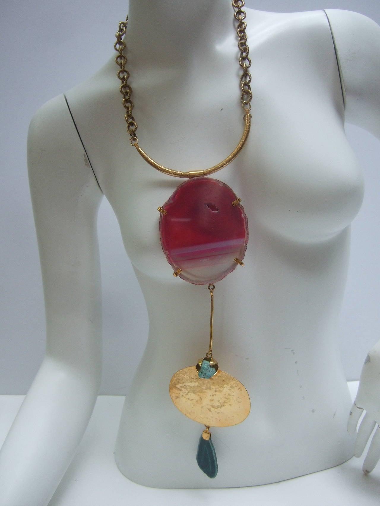 Women's Philippe Ferrandis Paris Magnificent Agate Pendant Necklace For Sale