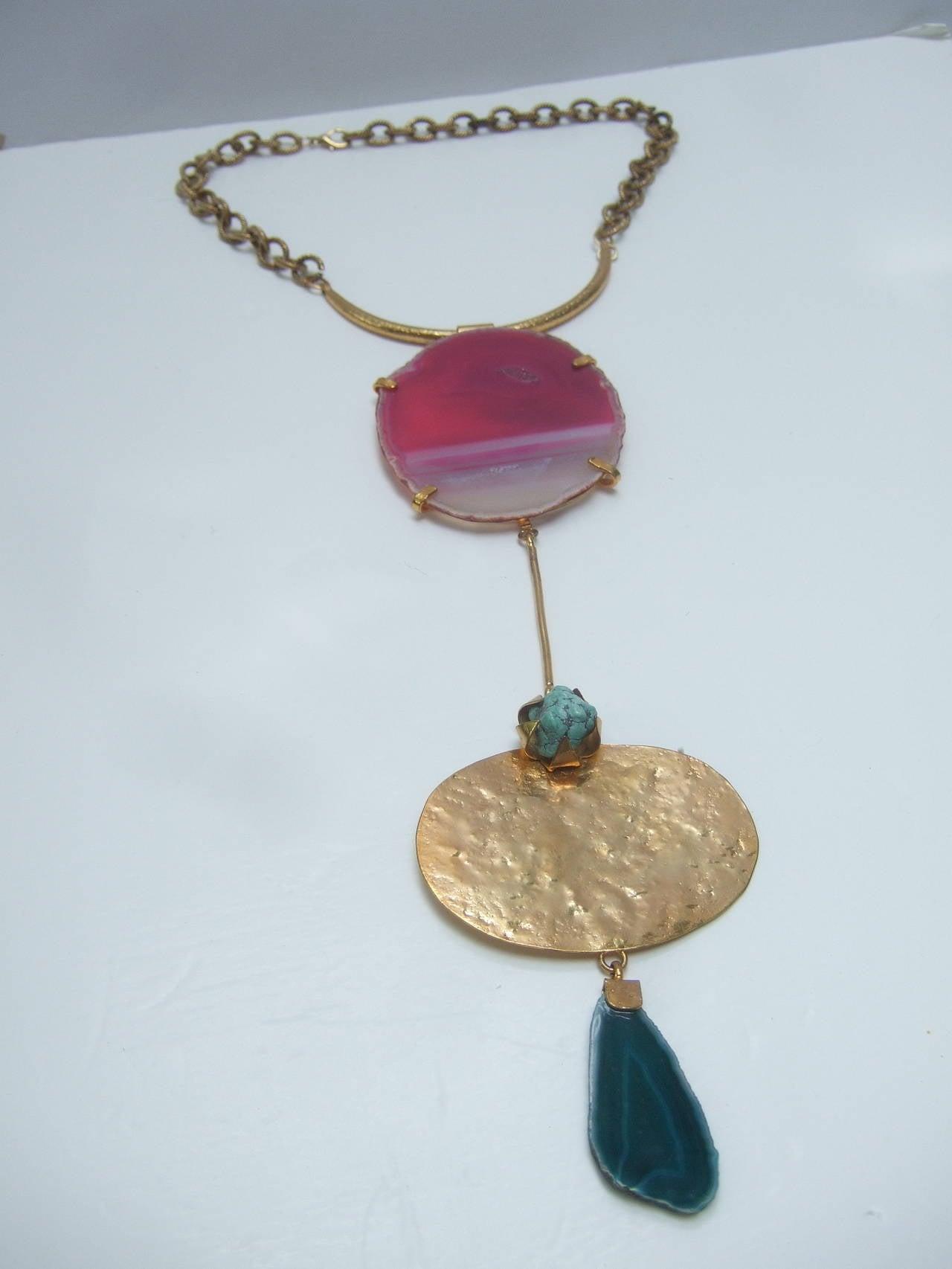 Philippe Ferrandis Paris Magnificent Agate Pendant Necklace For Sale 1