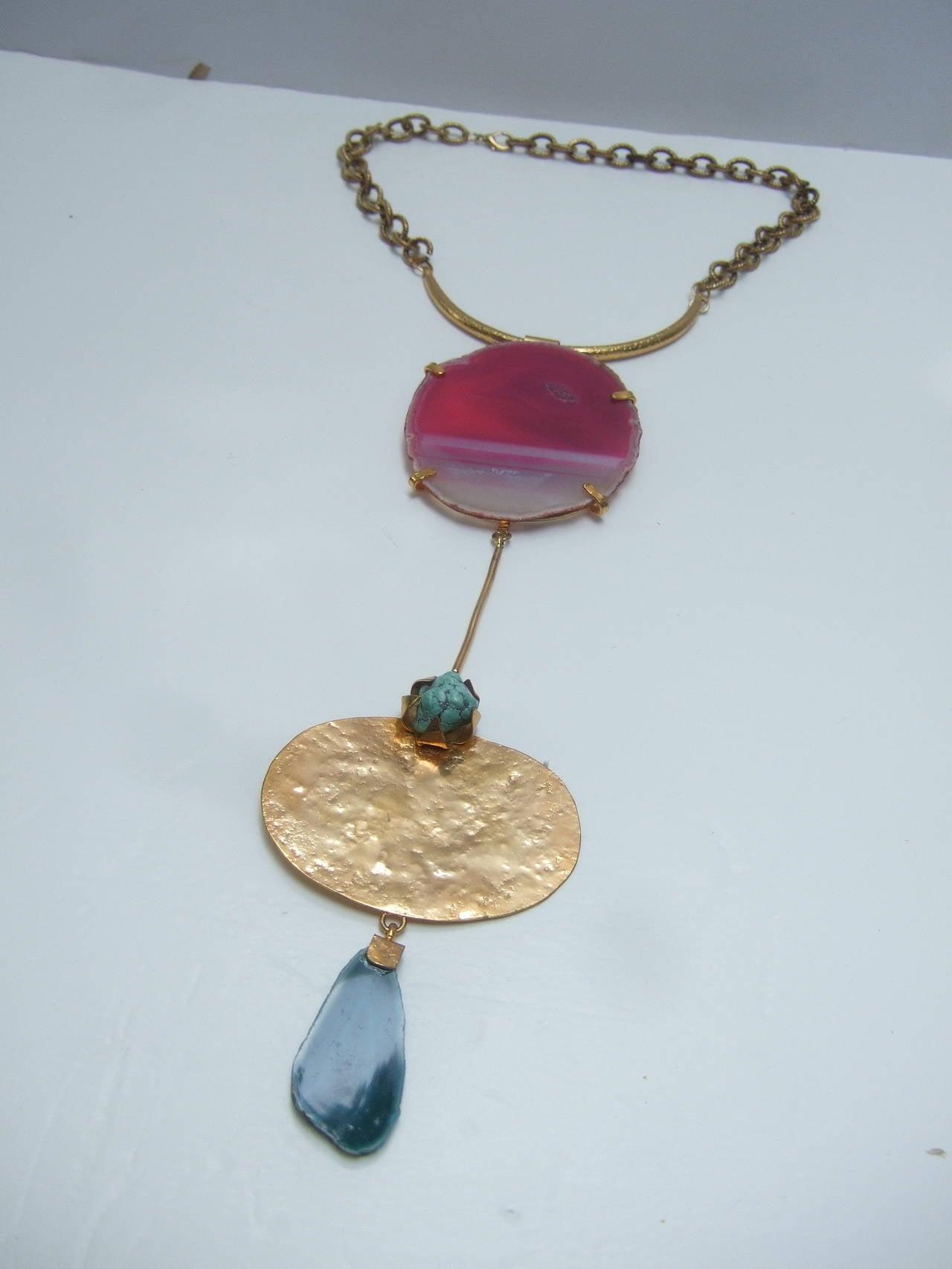 Philippe Ferrandis Paris Magnificent Agate Pendant Necklace For Sale 5