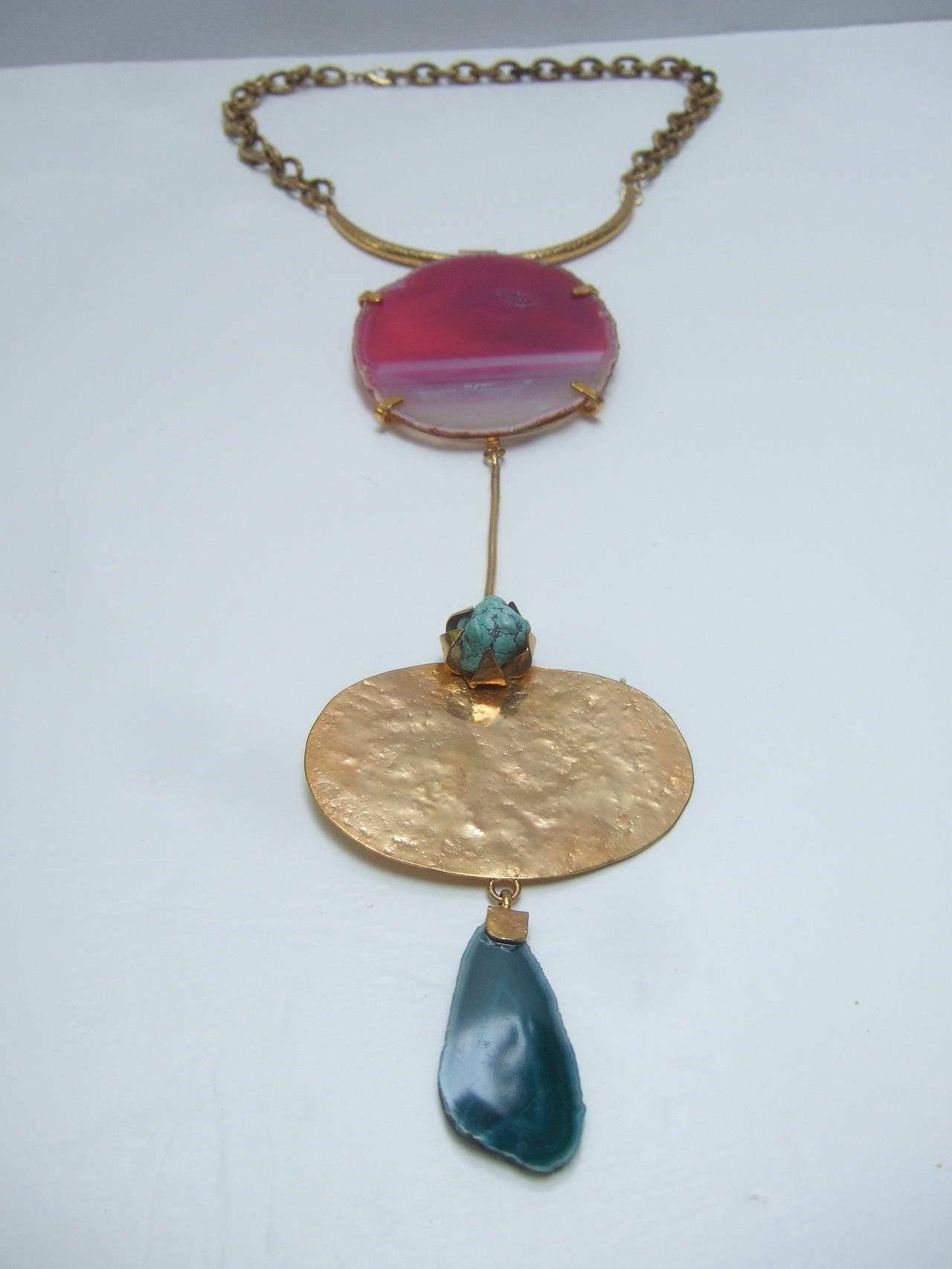 Philippe Ferrandis Paris Magnificent Agate Pendant Necklace In Excellent Condition For Sale In Santa Barbara, CA