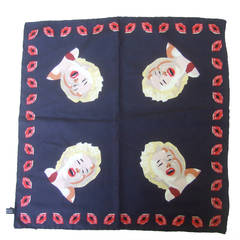 Marilyn Monroe Inspired Silk Pocket Scarf Made in Italy c 1990s