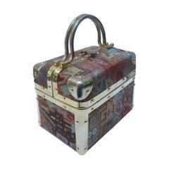 Borsa Bella Tapestry Gilt Metal Handbag Made in Italy c 1980s