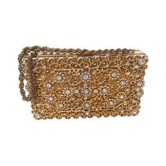 Opulent Crystal Gilt Metal Evening Bag Case c 1960
