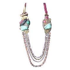 Artisan Stone & Glass Beaded Avant Garde Necklace