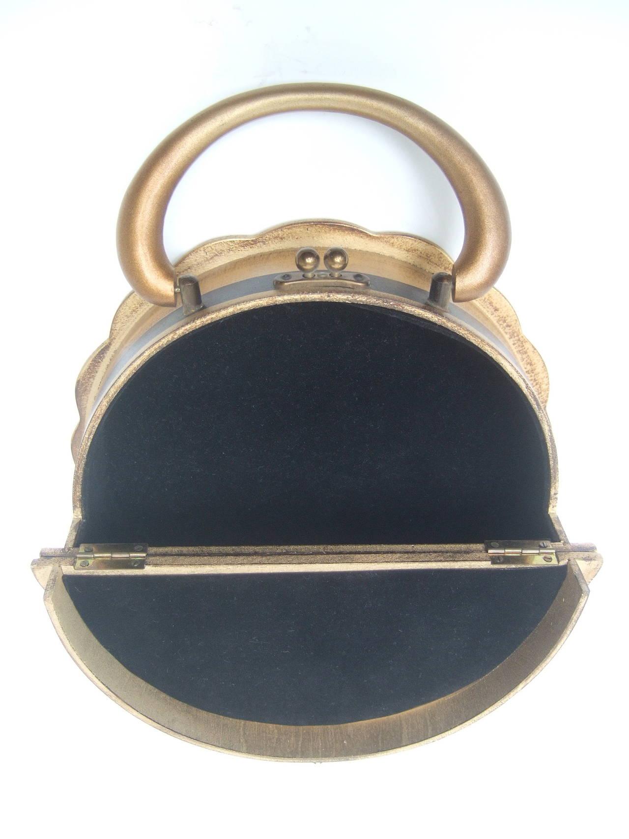 Unique Florentine Style Wood Circular Handbag C 1960s For