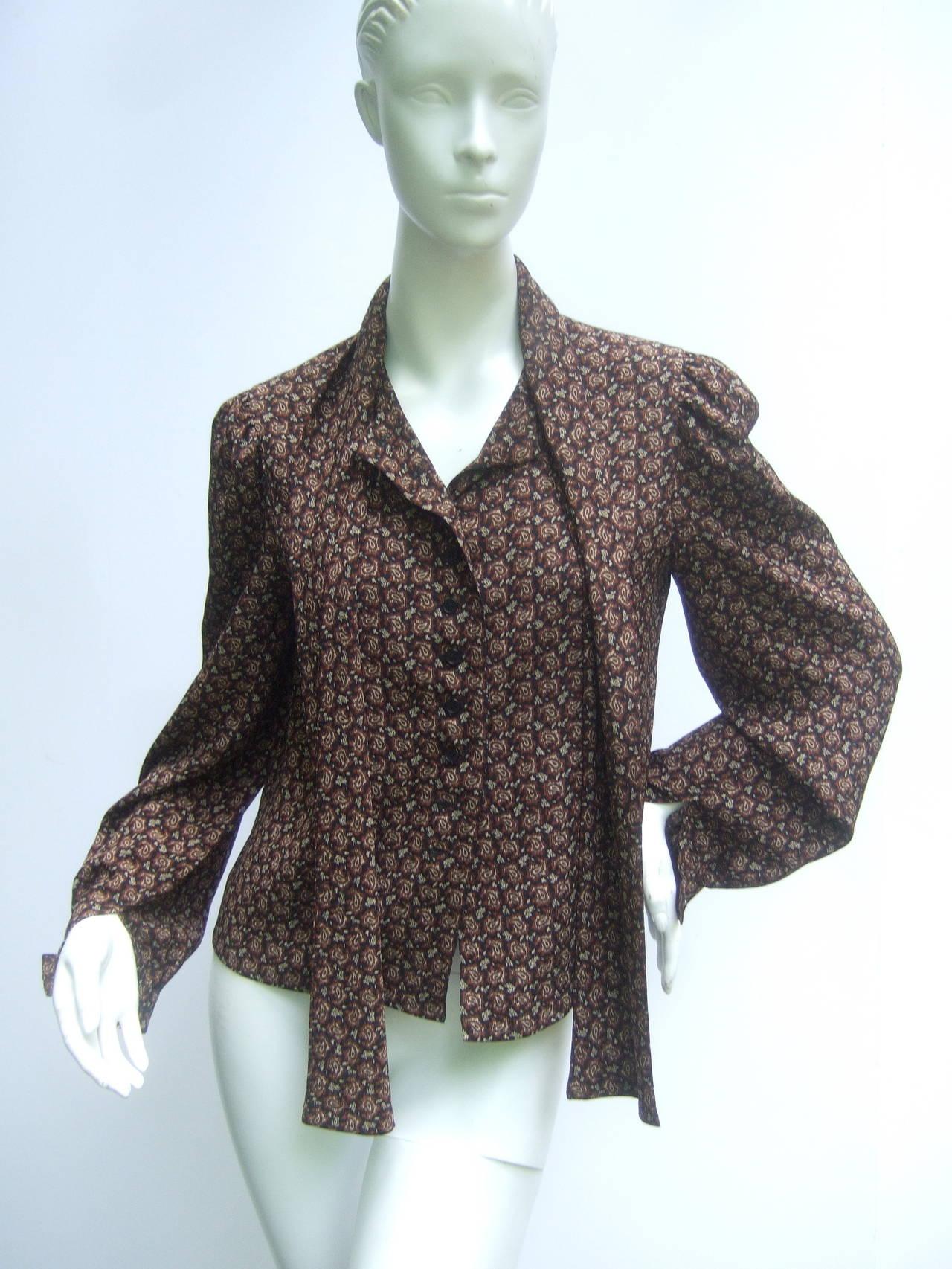 Women's Lanvin Couture Paris Wool Jacket & Paisley Blouse Ensemble c 1980s For Sale