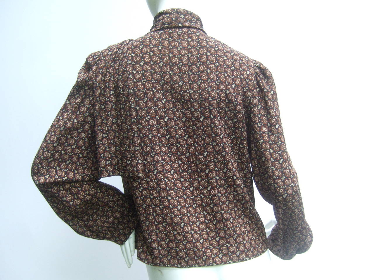 Lanvin Couture Paris Wool Jacket & Paisley Blouse Ensemble c 1980s 10