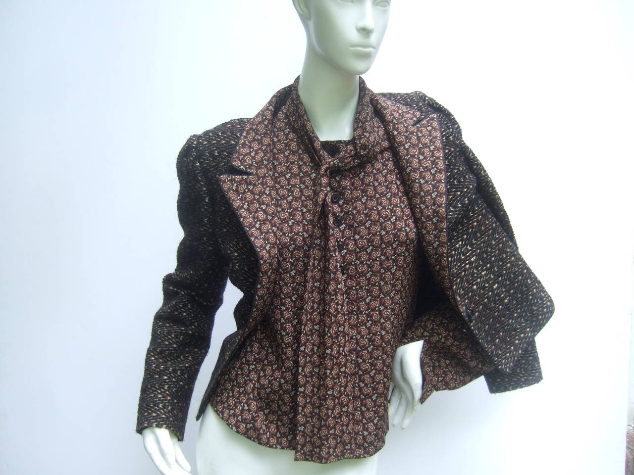 Lanvin Couture Paris Wool Jacket & Paisley Blouse Ensemble c 1980s 7