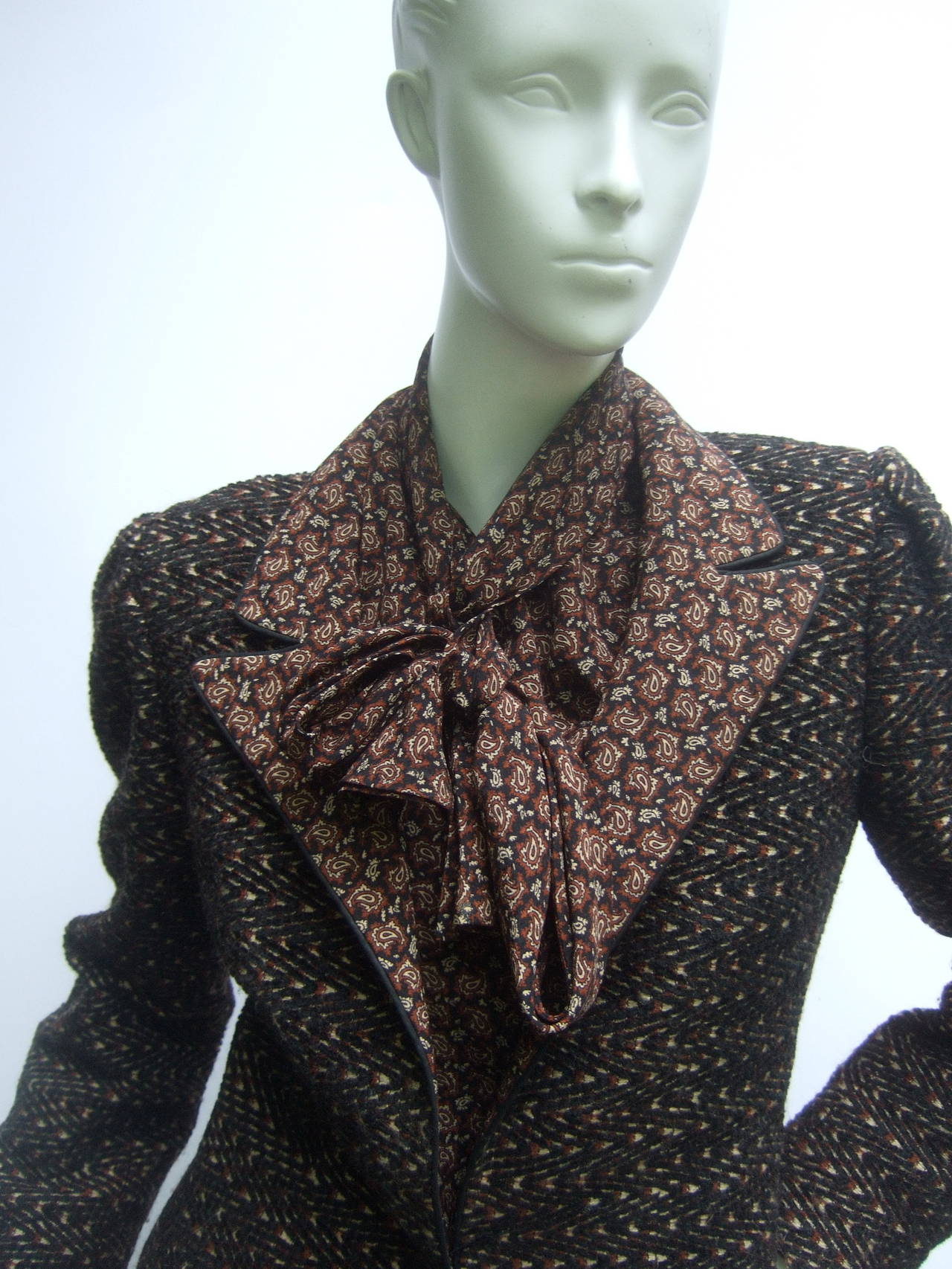 Lanvin Couture Paris Wool Jacket & Paisley Blouse Ensemble c 1980s 2