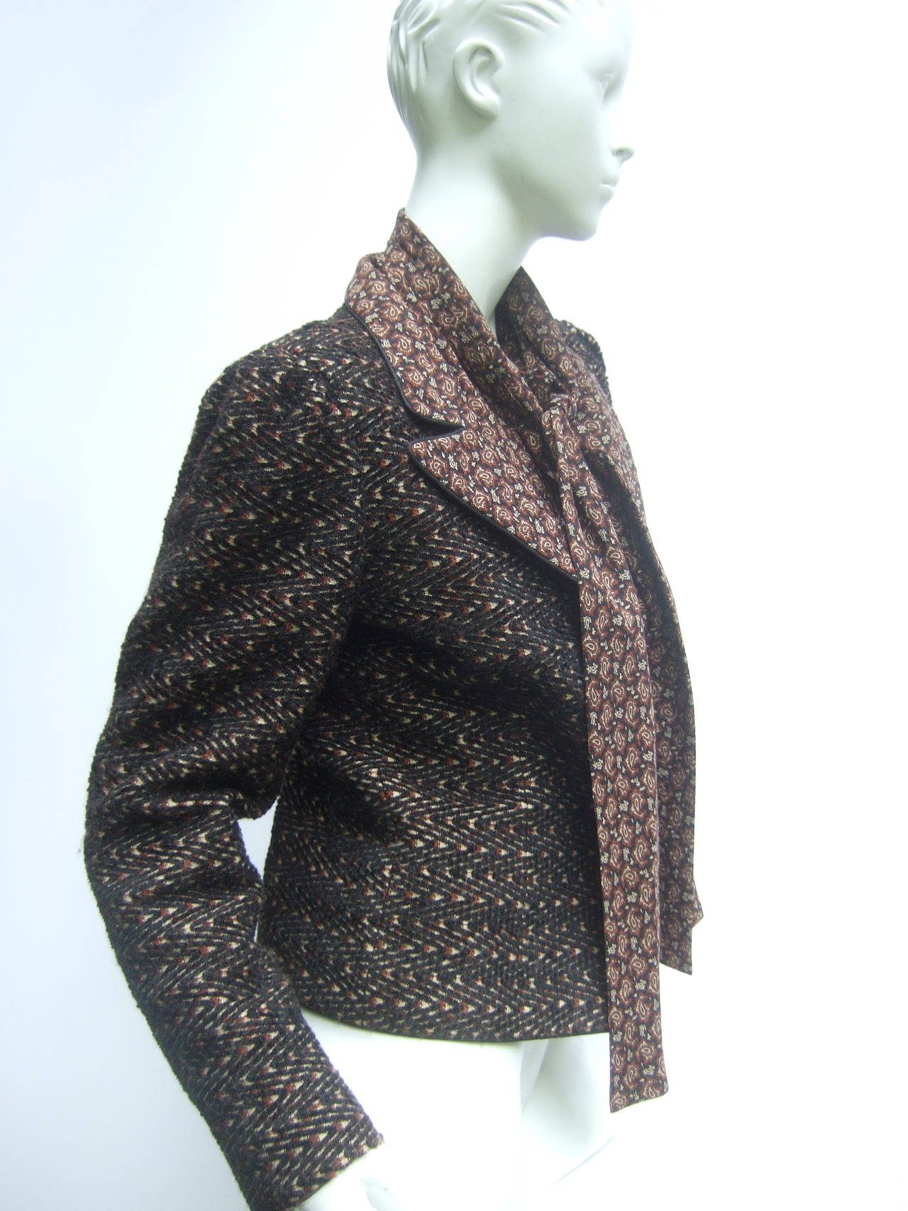 Lanvin Couture Paris Wool Jacket & Paisley Blouse Ensemble c 1980s 6