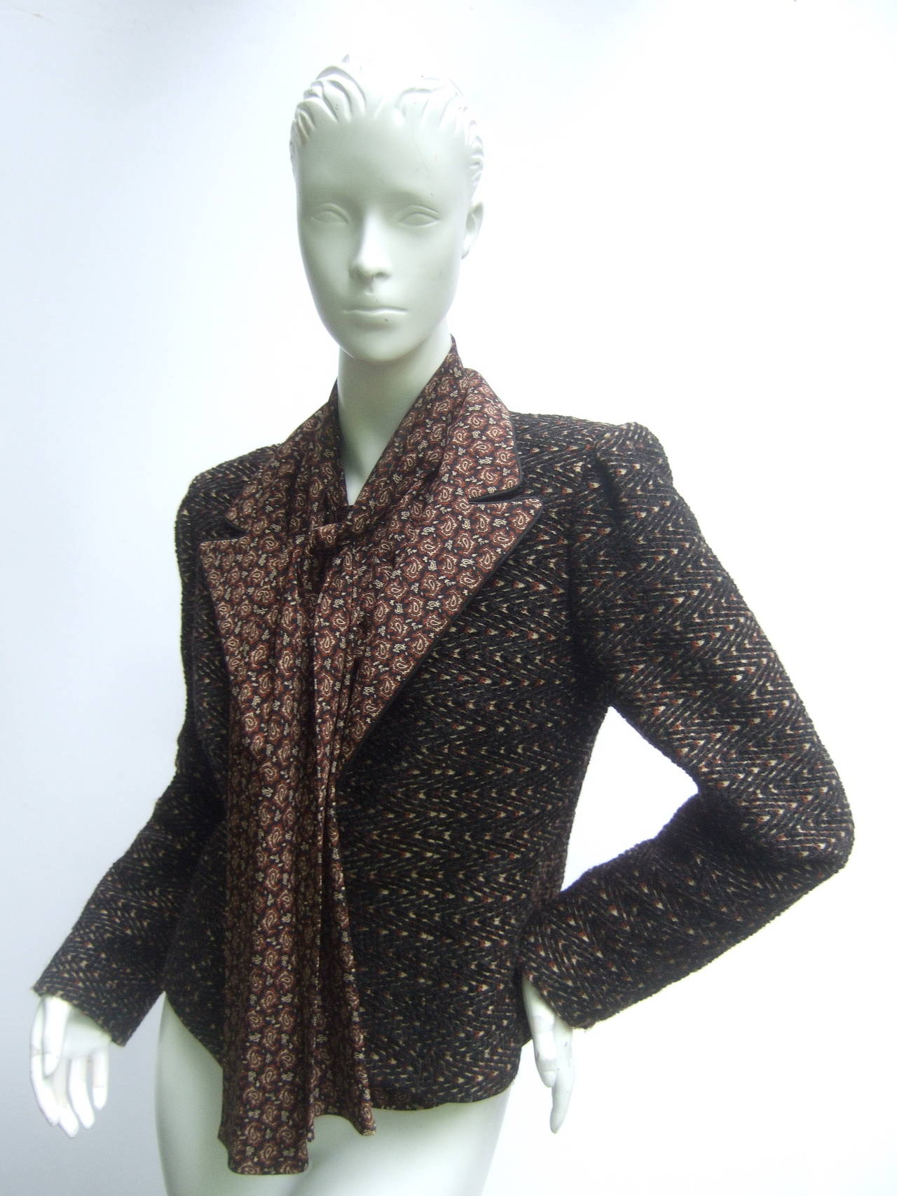 Lanvin Couture Paris Wool Jacket & Paisley Blouse Ensemble c 1980s 4