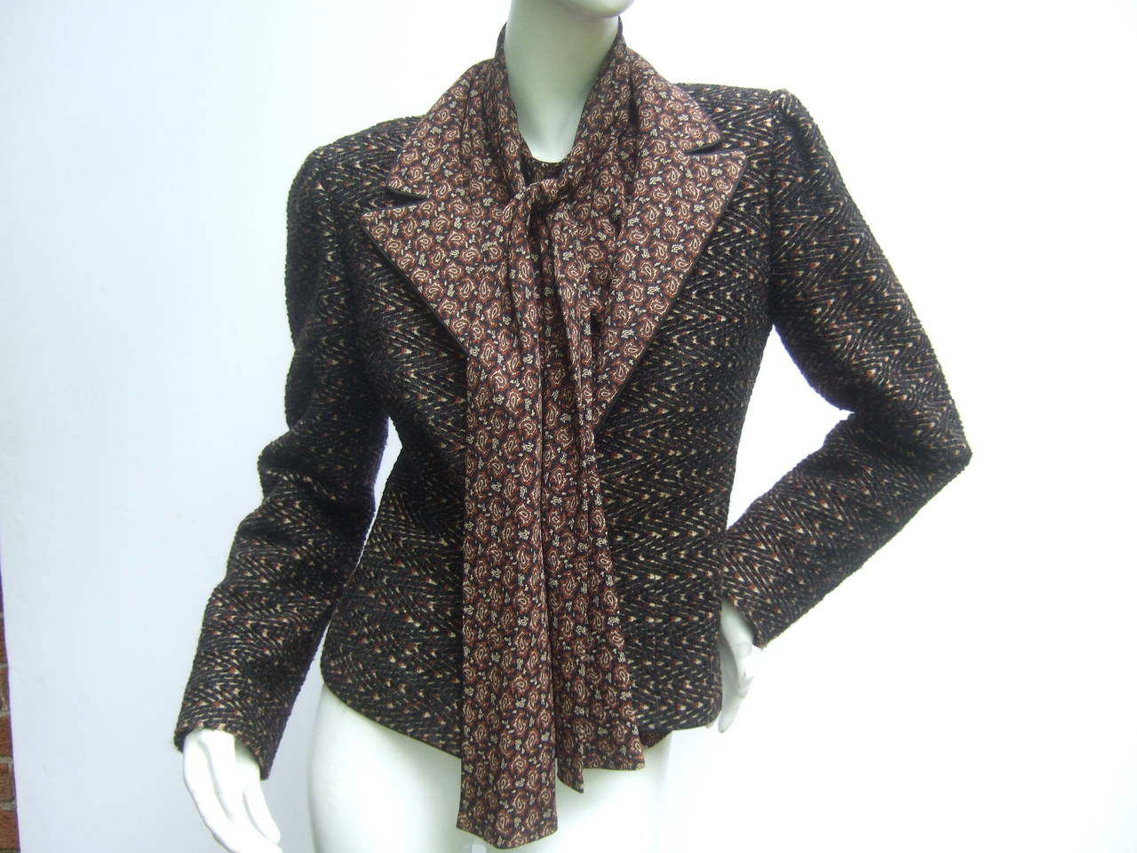 Lanvin Couture Paris Wool Jacket & Paisley Blouse Ensemble c 1980s 3