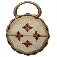 Unique Florentine Style Wood Circular Handbag c 1960s