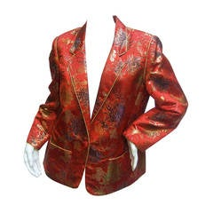 Exotic Scarlet Chinoiserie Brocade Jacket c 1980s