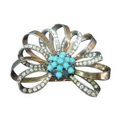 Marcel Boucher Jeweled Sterling Vermeil Fur Clip c 1940s