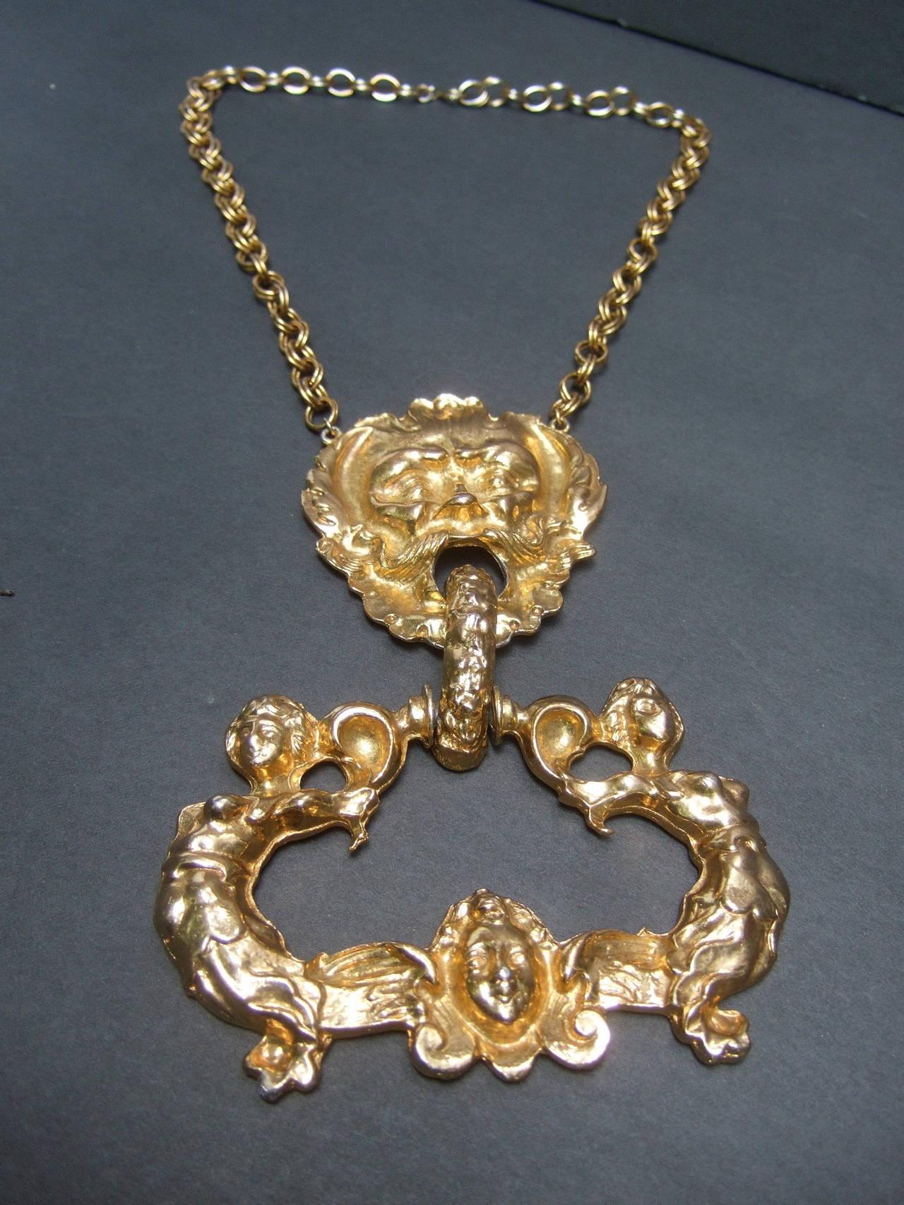 Massive Gilt Metal Figural Pendant Necklace c 1970 For Sale 1