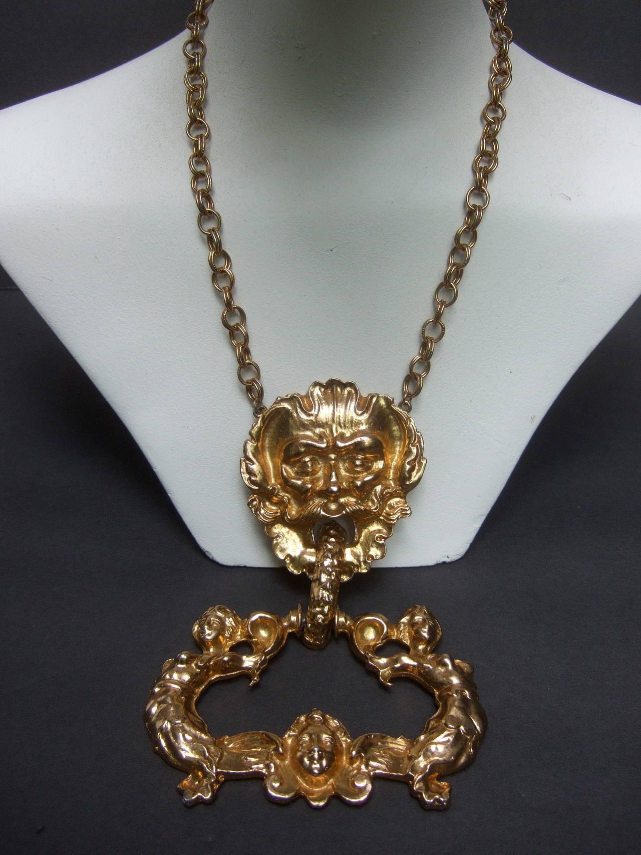 Women's Massive Gilt Metal Figural Pendant Necklace c 1970 For Sale