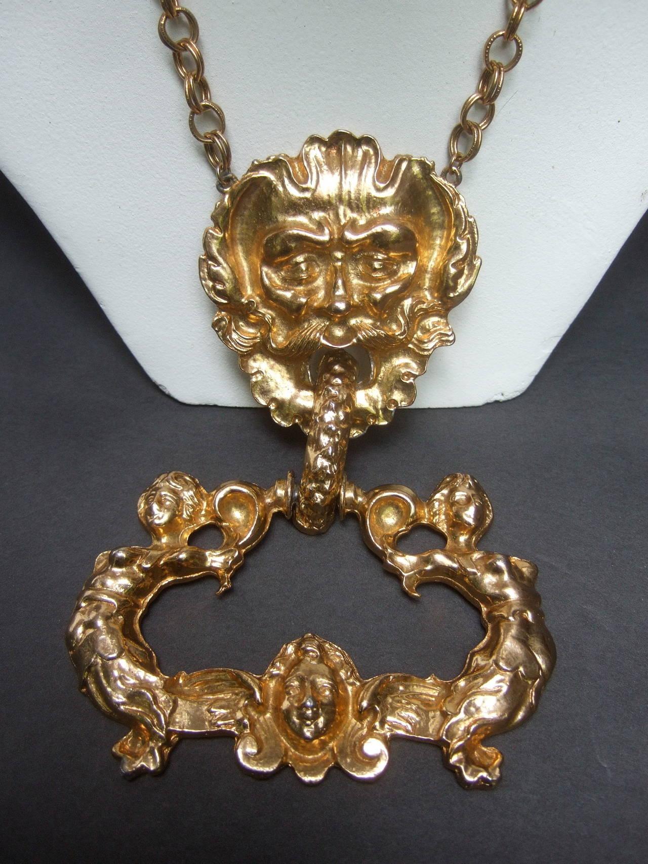 Massive Gilt Metal Figural Pendant Necklace c 1970 For Sale 6