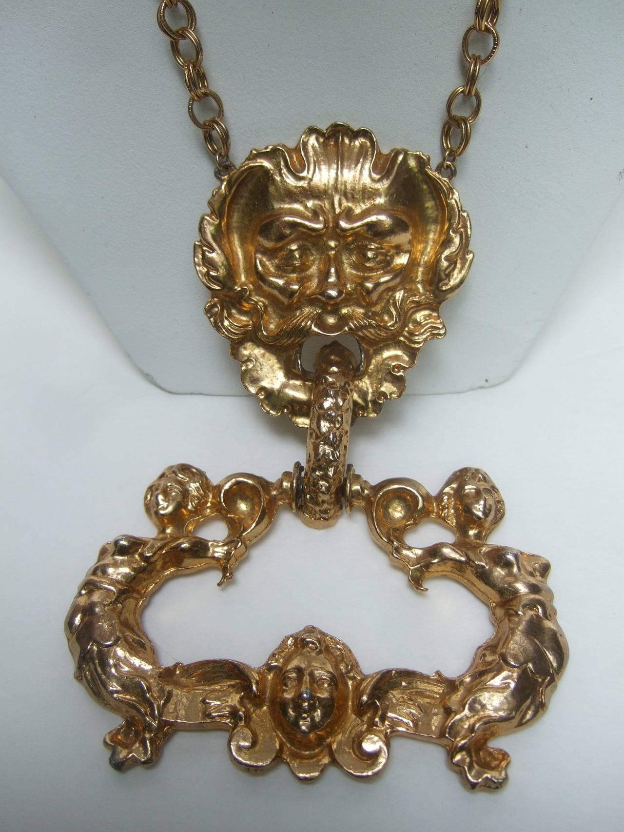 Massive Gilt Metal Figural Pendant Necklace c 1970 In Excellent Condition For Sale In Santa Barbara, CA