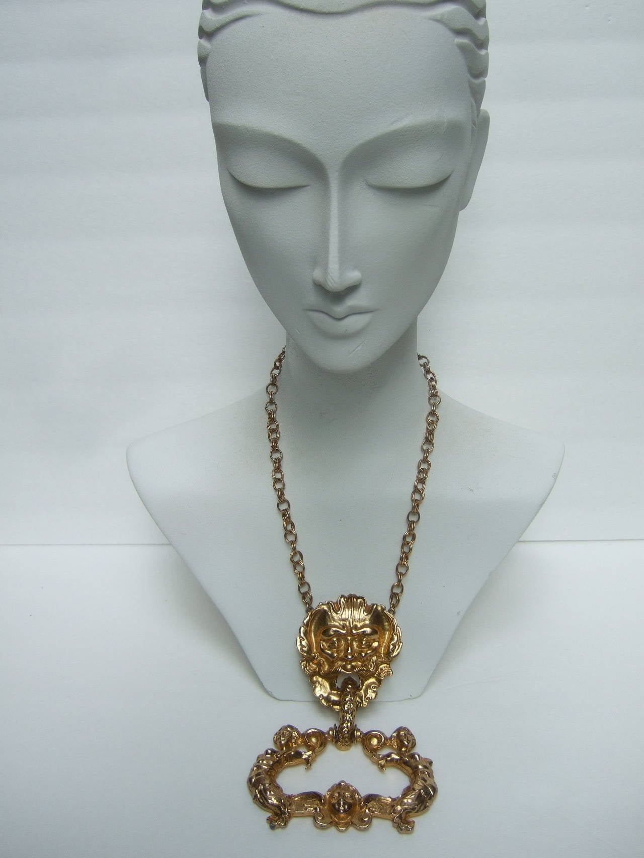 Massive Gilt Metal Figural Pendant Necklace c 1970 For Sale 4