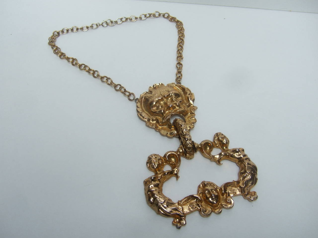 Massive Gilt Metal Figural Pendant Necklace c 1970 For Sale 5