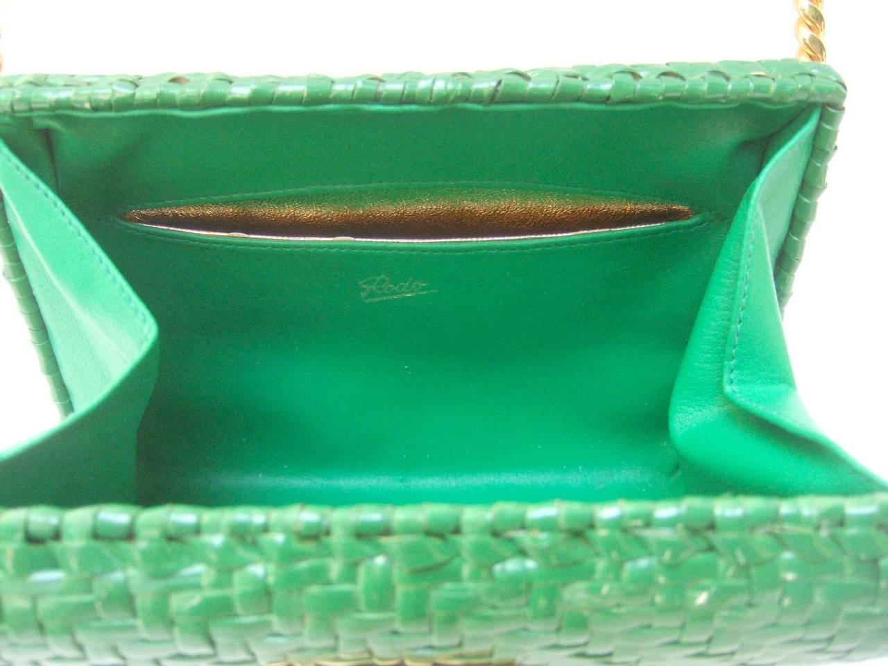 Rodo Italy Emerald Green Gilt Trim Wicker Clutch C 1980 At