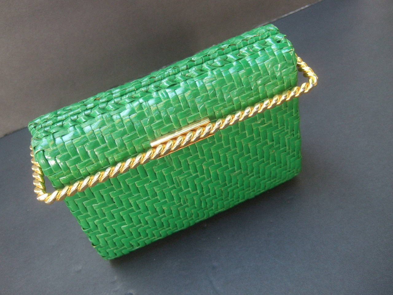 Rodo Italy Emerald Green Gilt Trim Wicker Clutch C 1980 At