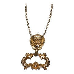 Massive Gilt Metal Figural Pendant Necklace c 1970