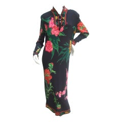 Leonard Paris Silk Jersey Floral Print Dress Made in Italy c 1980s