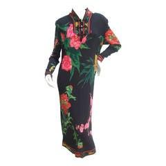 Leonard Paris Silk Jersey Floral Print Dress Made in Italy c 1980s