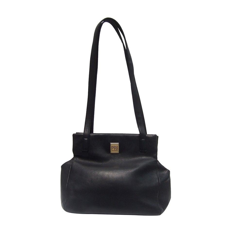 Paco Rabanne Paris Black Leather Shoulder Bag 1980s