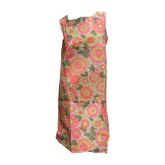 Mod Retro Flower Print Paper Shift Dress c 1960s