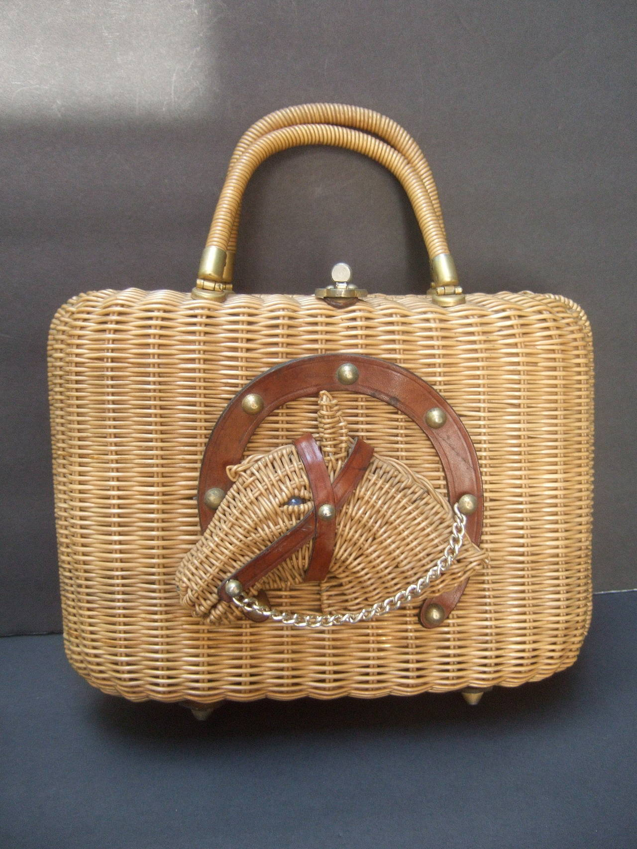 Unique Wicker Horse Head Retro Handbag C 1960 At 1stdibs